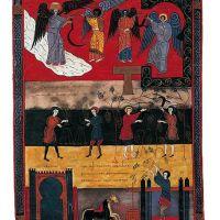 f. 209, Mahd, Weinlese und Kelter des Zorns Gottes (Offb XIV, 14-20)