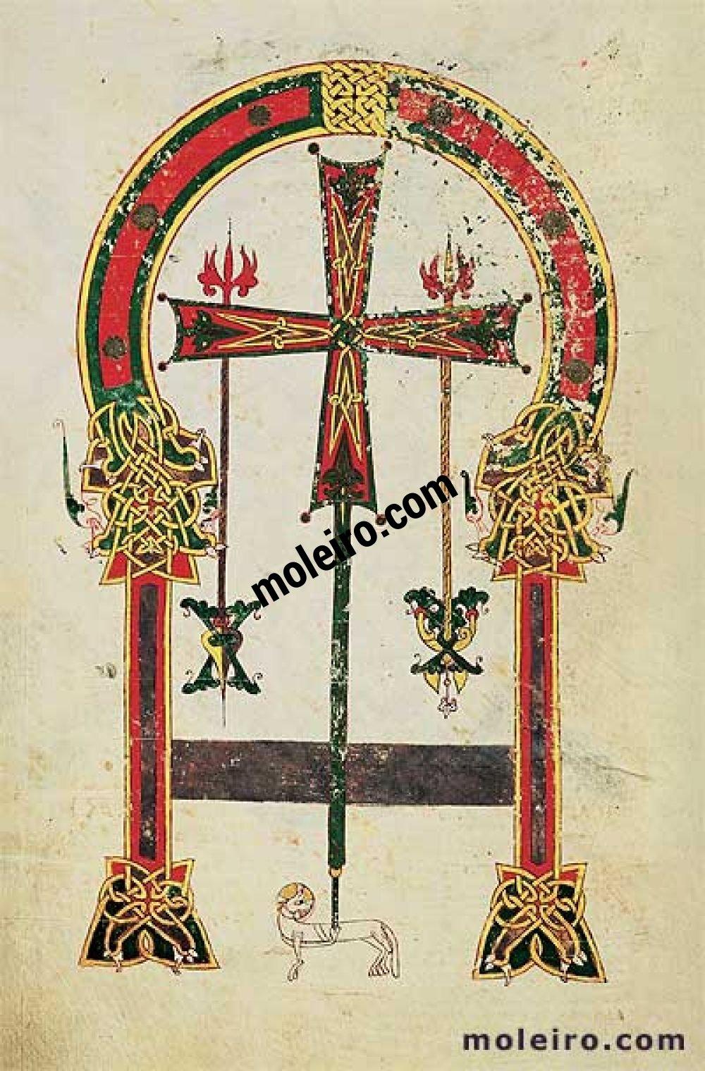 Carpeta con 6 láminas del Beato de Liébana, códice de Santo Domingo de Silos f. 2v, Cruz de Oviedo