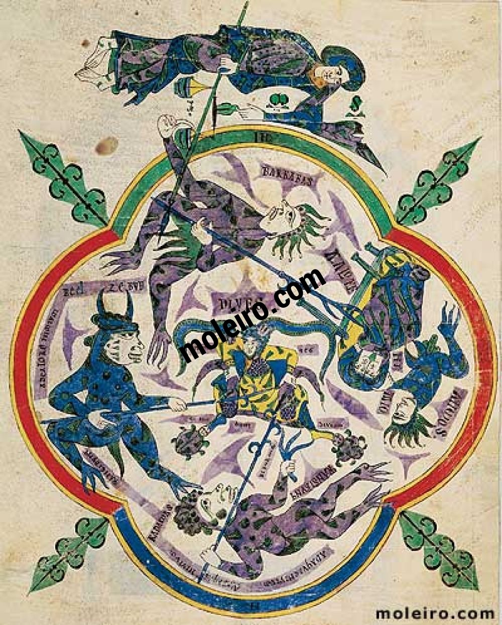 Carpeta con 6 láminas del Beato de Liébana, códice de Santo Domingo de Silos f. 2r, El infierno