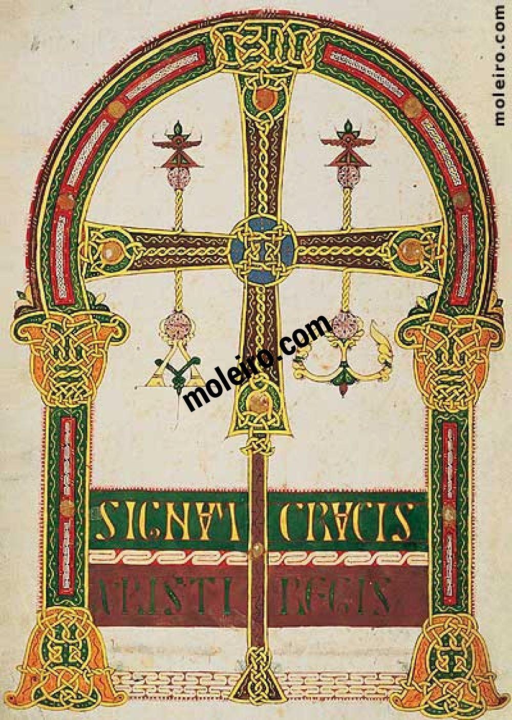 Carpeta con 6 láminas del Beato de Liébana, códice de Santo Domingo de Silos f. 3v, Cruz de Oviedo
