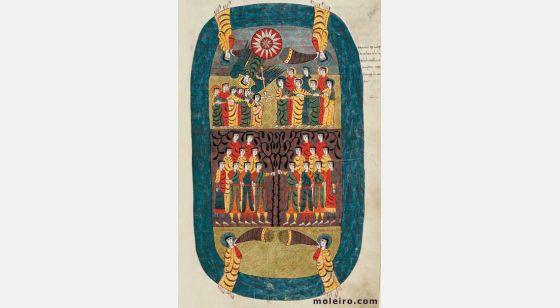 Pasta com 6 lâminas do Beato de Liébana, códice de Santo Domingo de Silos f. 111r,