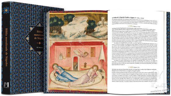 Bible moralisée aus Neapel Die Flucht der Heiligen Familie aus Ägypten (Matthäus 2,12-13)