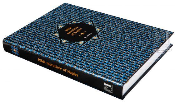 Bíblia moralizada de Nápoles Fotografia em perspetiva da capa e lombada do livro de arte da Bíblia Moralizada de Nápoles.