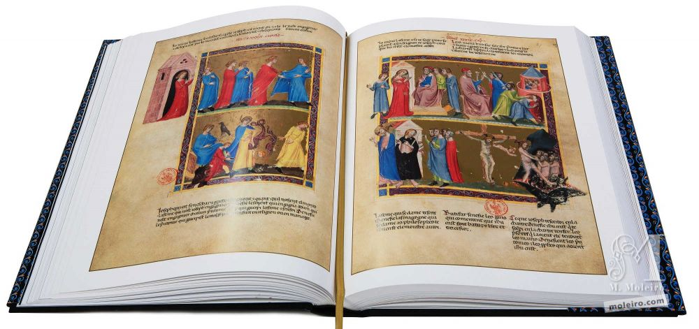 Bible moralisée aus Neapel Die Frau des Potifar versucht Joseph zu verführen (Genesis 39,7-12)