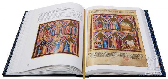 Bíblia moralizada de Nápoles Cristo retirando do peito de São Paulo a ciência do evangelho e oferecendo-a ao Pai. (Génesis 44, 12-45)