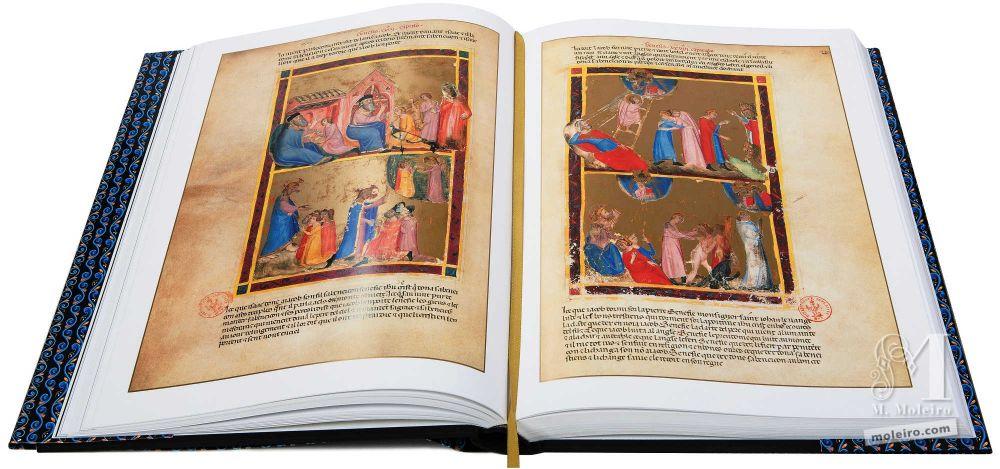 Bible moralisée aus Neapel Der Traum Jakobs über Betels Stein (Genesis 28, 10-15 und 32, 25-31)