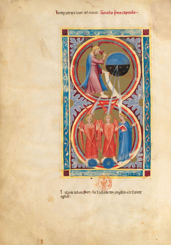 Biblia moralizada de Nápoles f. 2v (Génesis 1, 4-5)