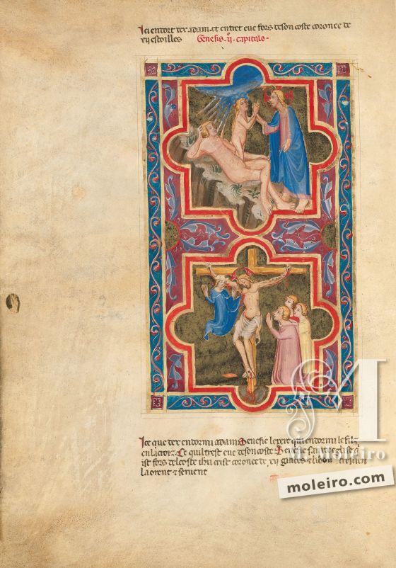 Bible moralisée of Naples f. 7v (Gen. 2: 21-22)