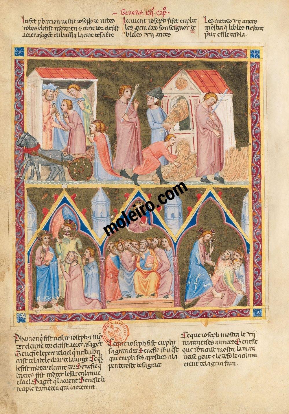 Bible moralisée de Naples f. 30v (Gn 41, 41-44 et 41, 47-54)
