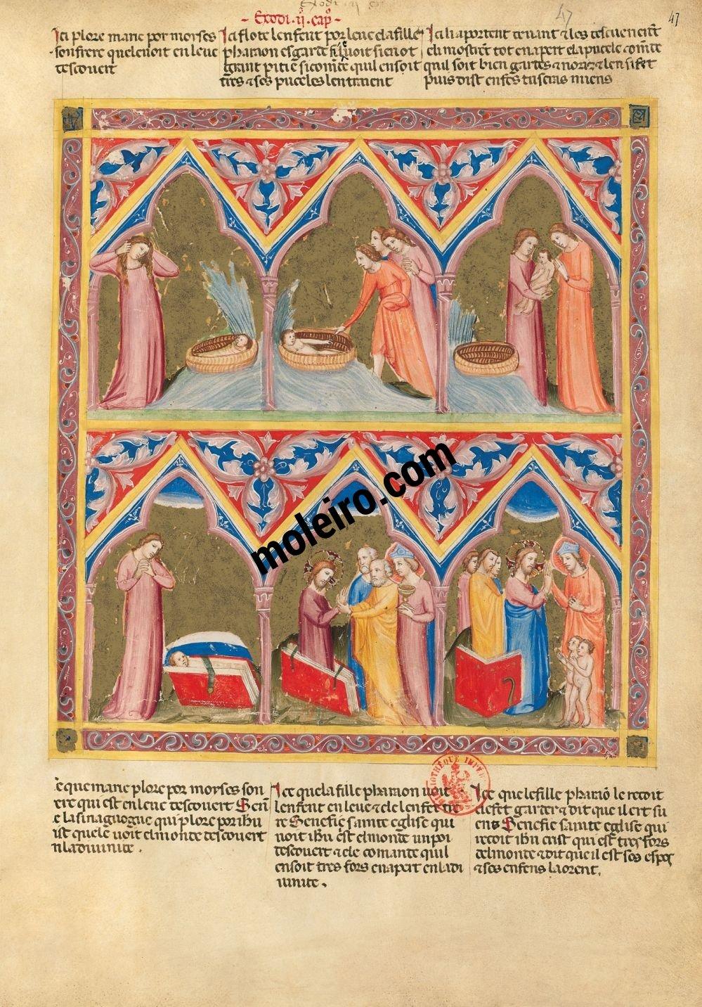 Bible moralisée de Naples f. 47r (Ex 2, 5-10)
