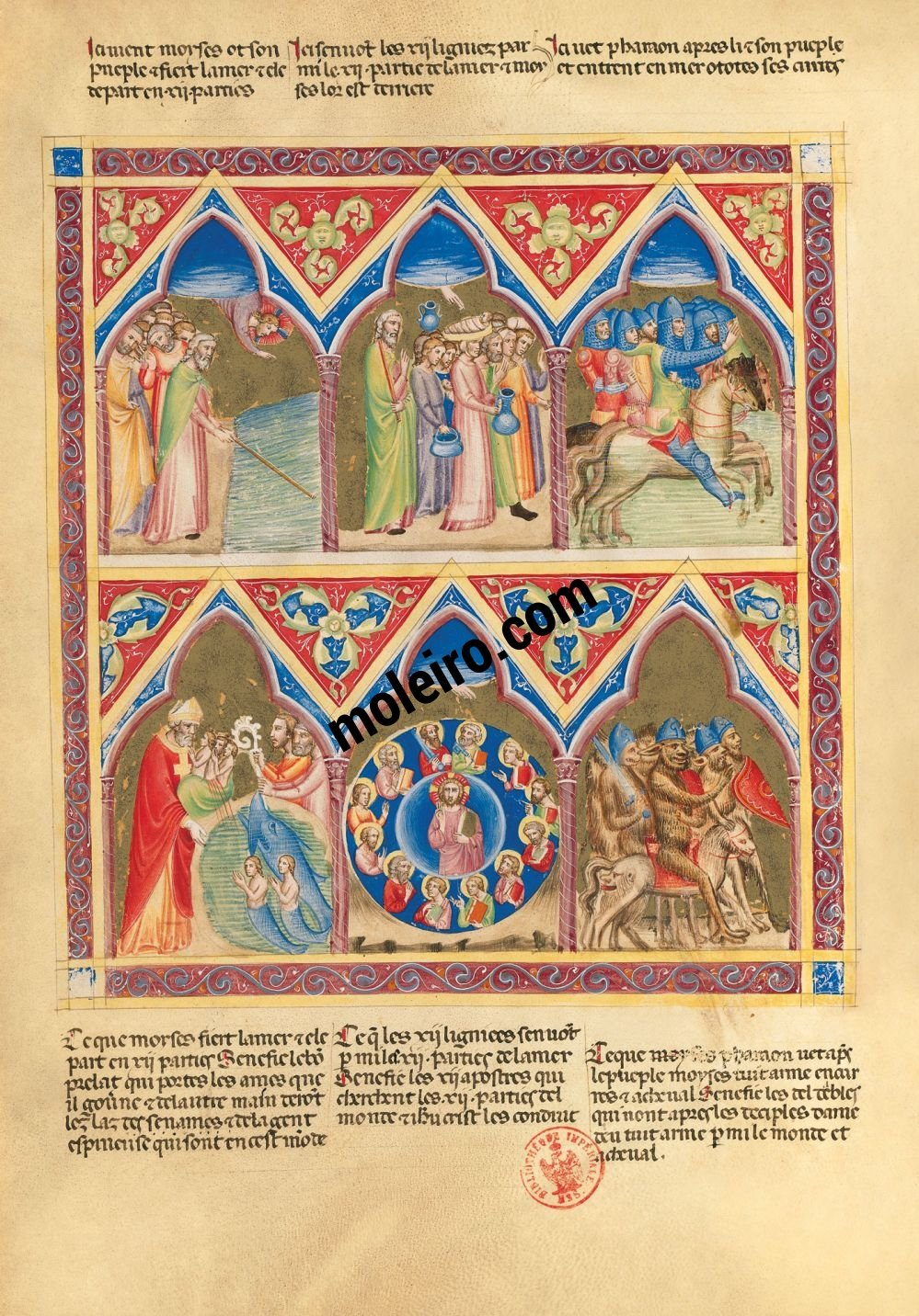 Bible moralisée of Naples f. 62v (Ex. 14: 21-24)