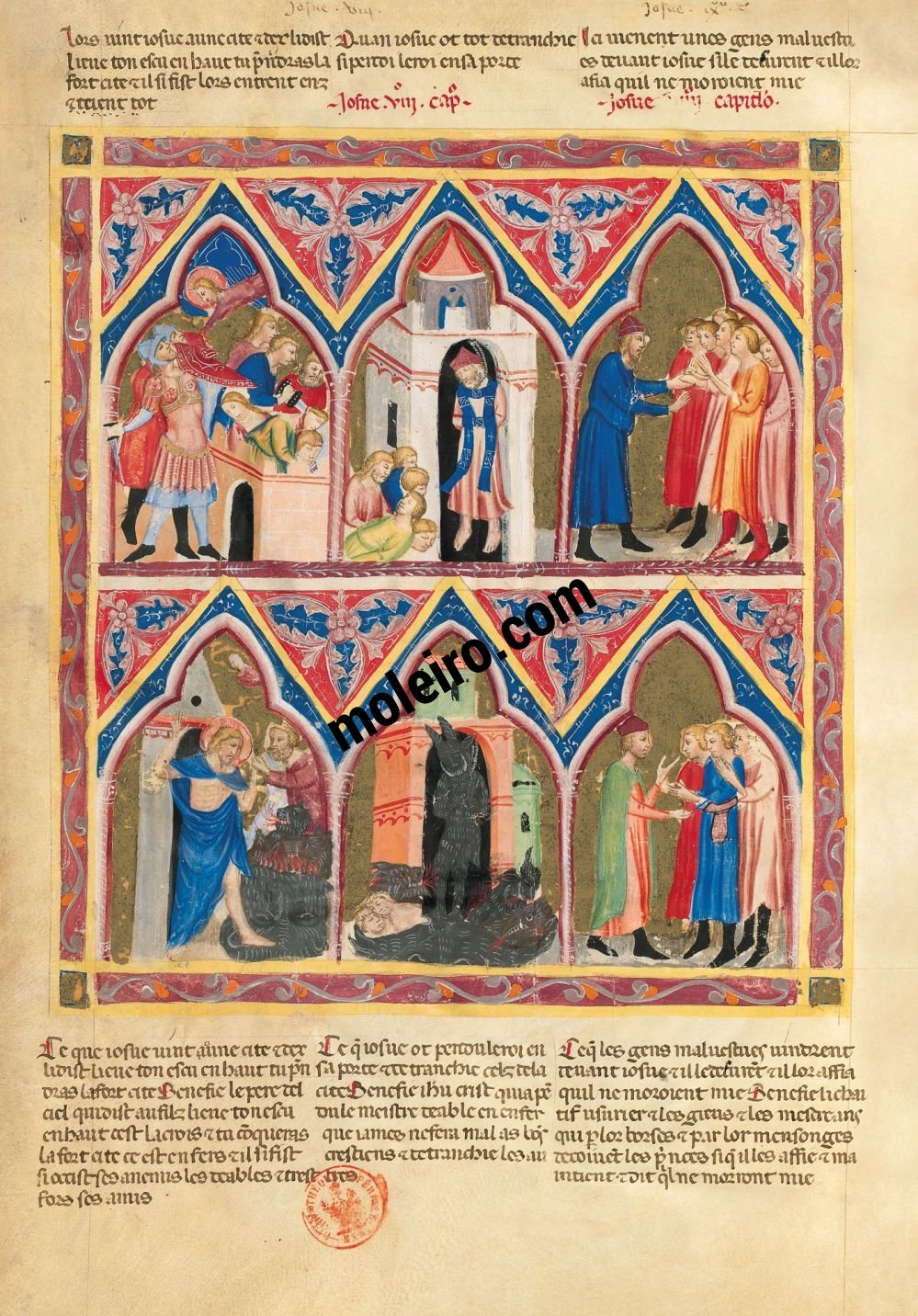 Bible moralisée of Naples f. 106v (Josh. 8: 1-29 and 9: 1-15)
