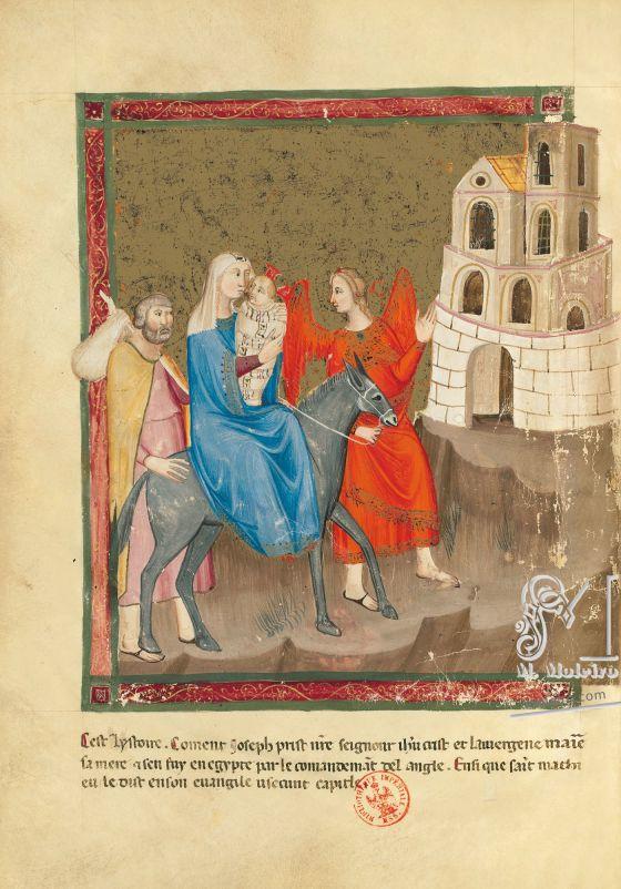 Bible moralisée of Naples f. 140v: The Flight into Egypt(Matt. 2: 14)