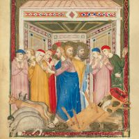 f. 158v: Jesus drives the merchants out of the temple (Matt. 21: 12-13)