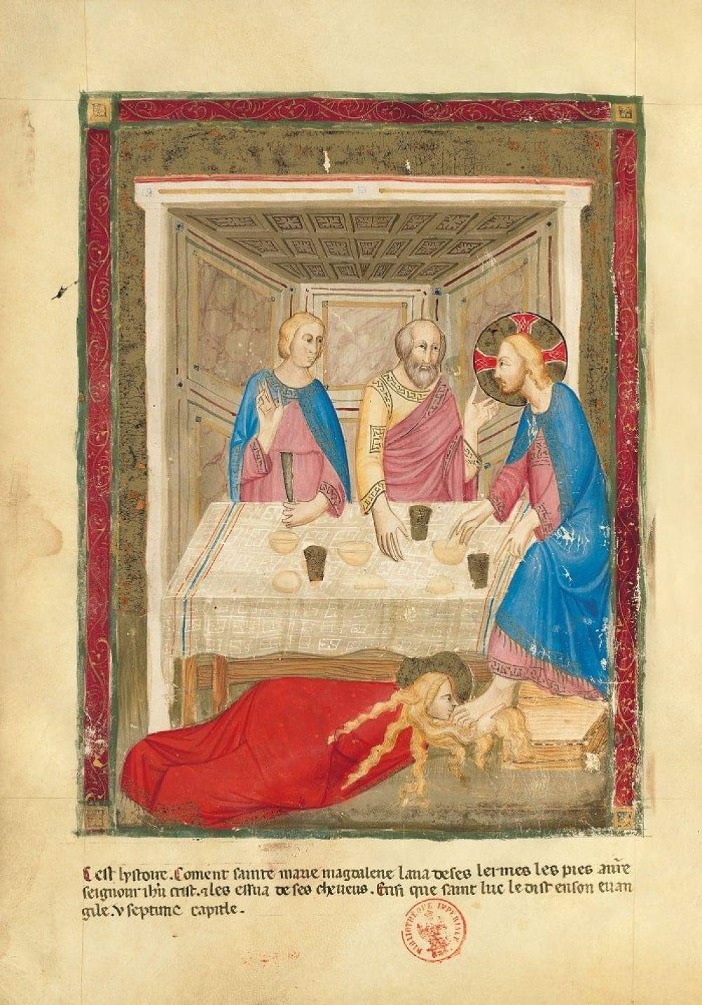 Bible moralisée de Naples f. 160v : Lavement des pieds du Christ par Marie-Madeleine(Lc 7, 38)