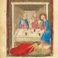 f. 160v: Mary Magdalene Washing Christ's Feet(Luke 7: 38)