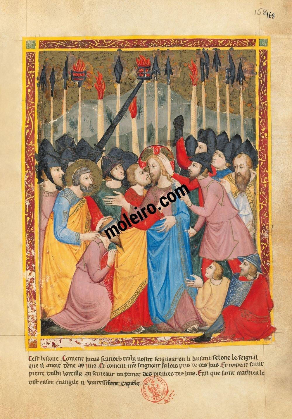 Bible moralisée aus Neapel f. 168r (Matthäus 26, 47-52)