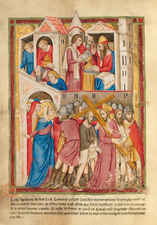 Bible moralisée de Naples f. 175v : Pilate se lave les mains ; Jésus condamné à la crucifixion(Mt 27, 24-25 et Jn 19, 16-17)