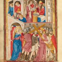 f. 175v: Pilate washing his hands; Jesus condemned to die on the cross (Matt. 27: 24-25 and John 19: 16-17)