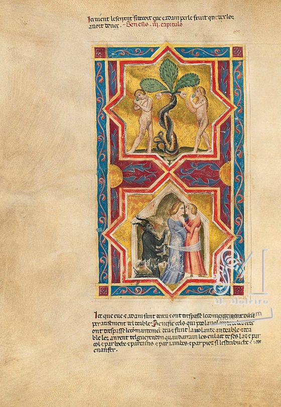 Biblia moralizada de Nápoles f. 8v (Génesis 3, 1-6)