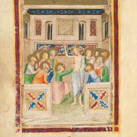 f. 187v: Incredulidad de santo Tomás(Juan 20, 26-27)