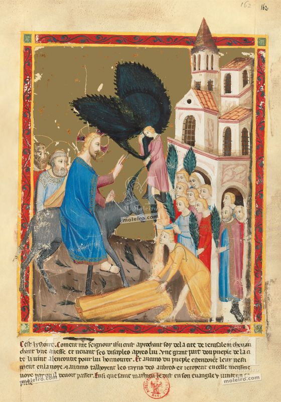 Biblia moralizada de Nápoles f. 162r: Entrada en Jerusalén (Mateo 21, 1-8)