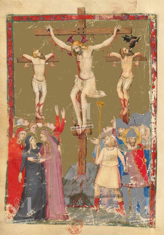 Biblia moralizada de Nápoles f. 177v: la Crucifixión