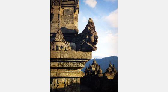 Borobudur Borobudur. Cuarta galería, gárgola de ángulo de la quinta balaustrada