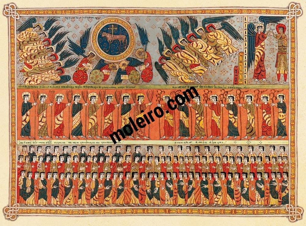 Silos Beatus ff. 112v-113r, The 144.000 sealed of Israel