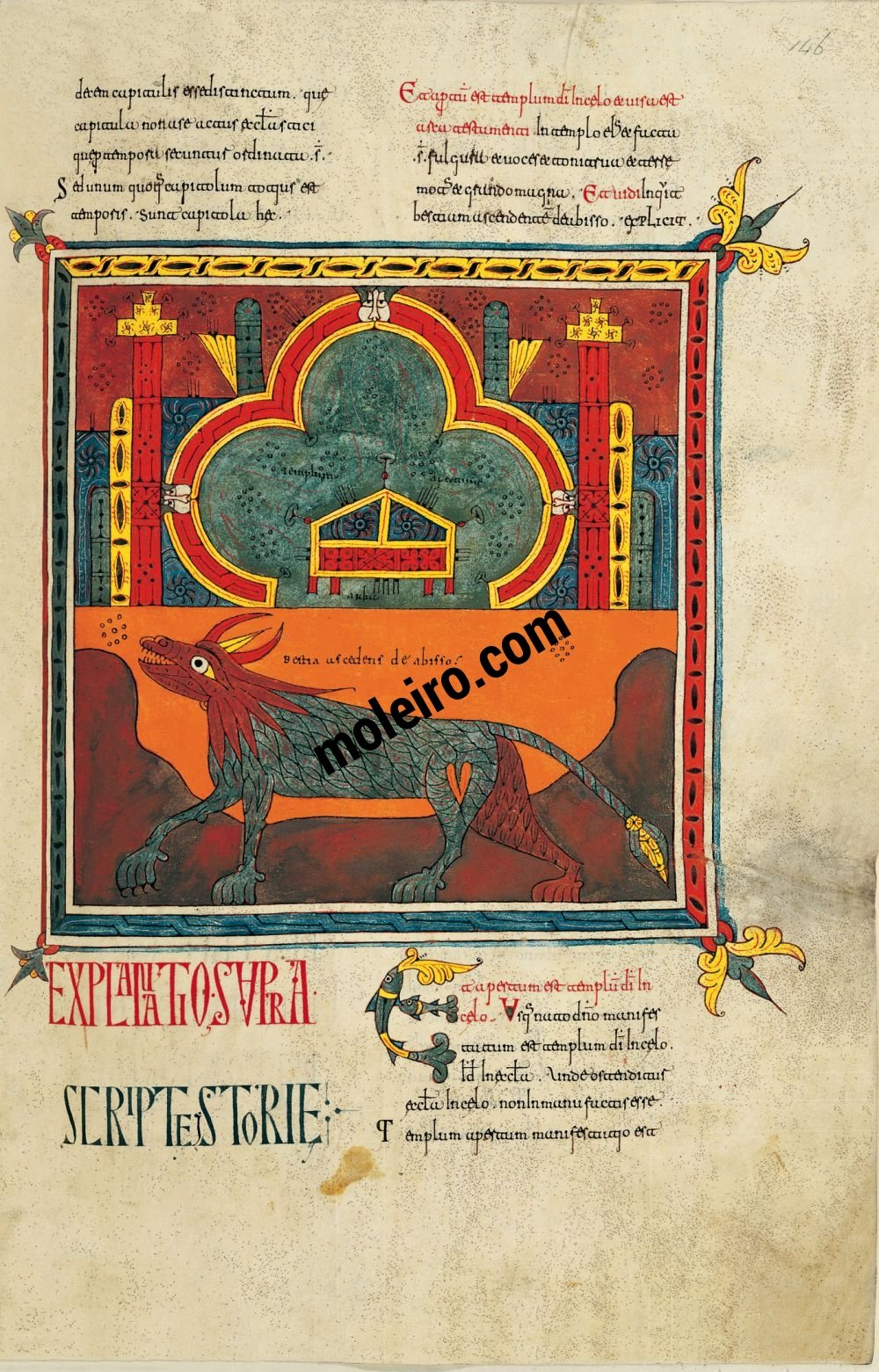 Silos Beatus f. 146r, The Temple with the Ark of the Alliance and the beast arising from the abyss