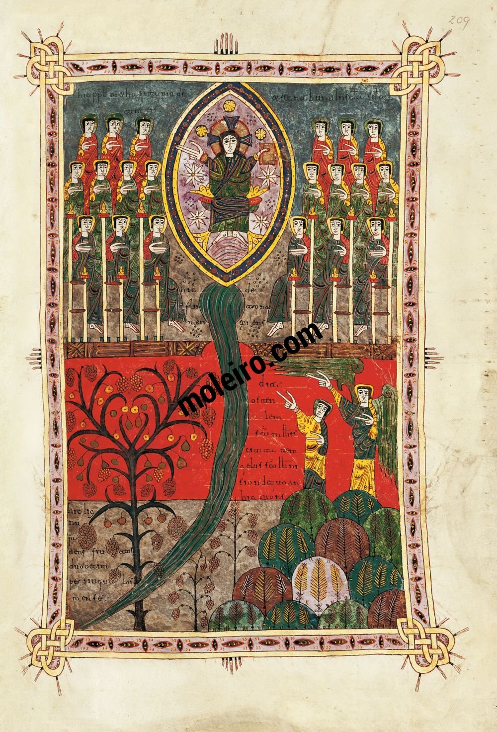 Silos Beatus f. 209r, Christ upon his throne and the river of life