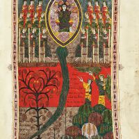 f. 209r, Christ upon his throne and the river of life