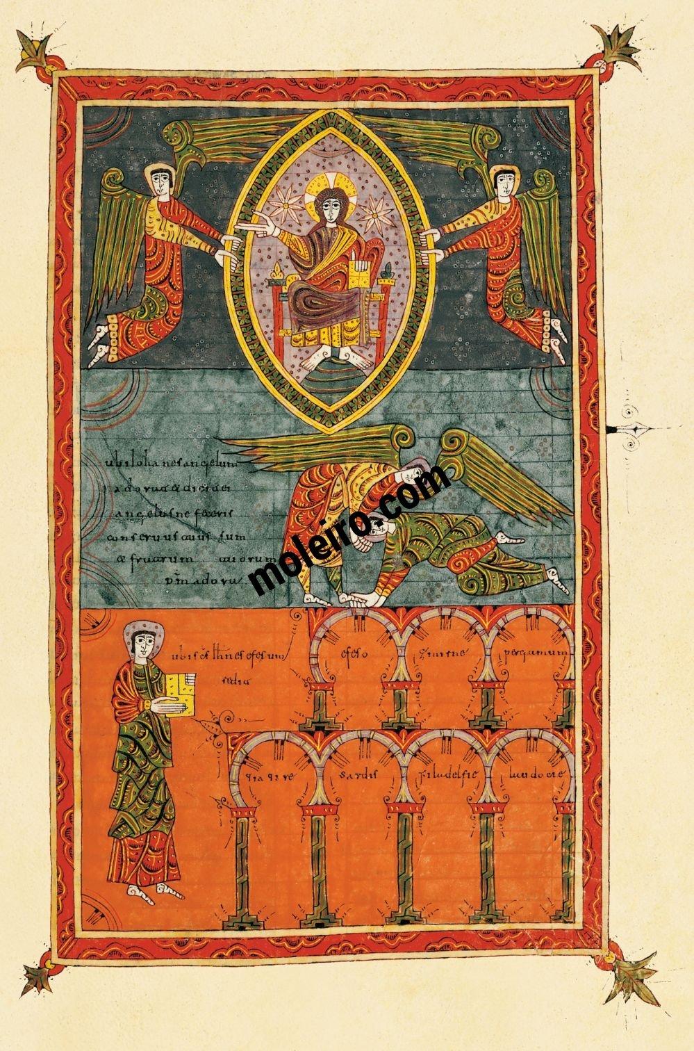 Silos Beatus f. 216r, John prostrates himself at the angel's feet