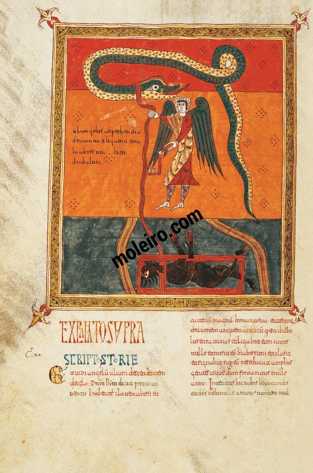 Beato de Liébana, códice del Monasterio de Santo Domingo de Silos, Burgos  f. 199v, El ángel encadena a Satanás (Storia: Ap. 20, 1-3), Pedro.