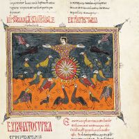 <p>f. 197r. The angel on the sun (Storia: Rev. 19: 17-18), Petrus.</p>