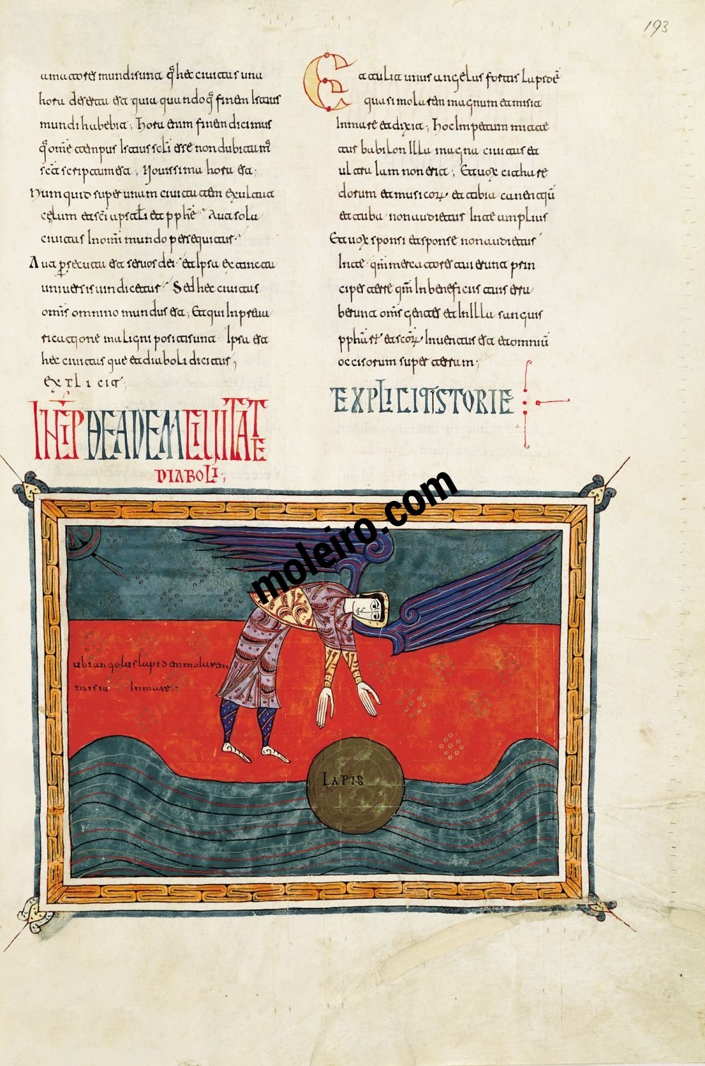 Silos Beatus f. 193r, The angel casts the mill stone into the sea