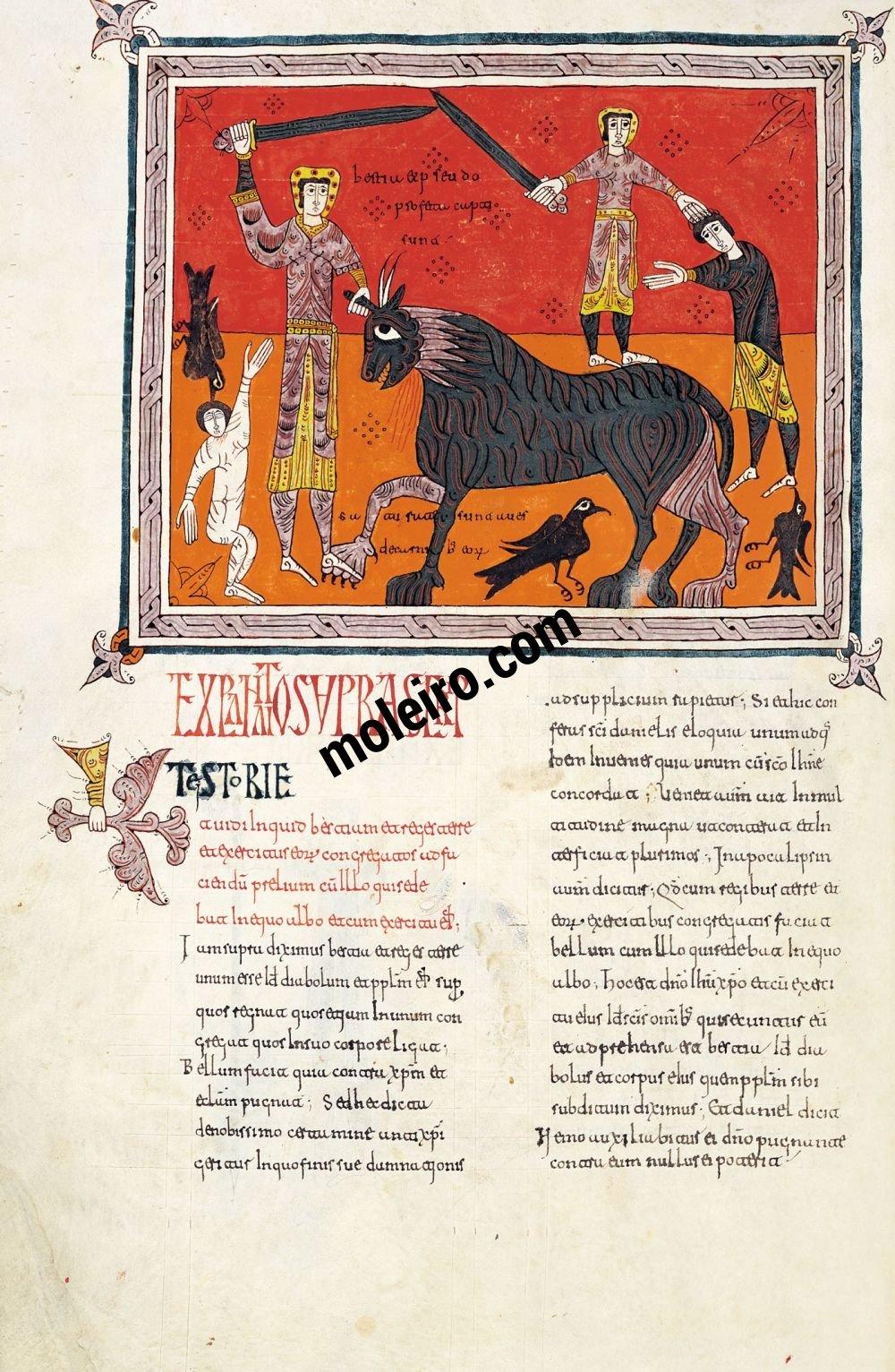 Beato de Liébana, códice del Monasterio de Santo Domingo de Silos, Burgos  f. 198v. El triunfo del jinete sobre la bestia