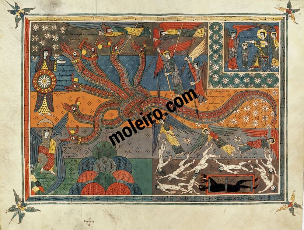 Silos Beatus ff. 147v-148r, The battle between the serpent and the Son of the Woman