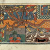 ff. 147v-148r, The battle between the serpent and the Son of the Woman