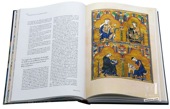 Bible de Saint Louis <p>La reine Blanche de Castille, son fils Louis et les artisans&#160;(3, f. 8r)</p>
