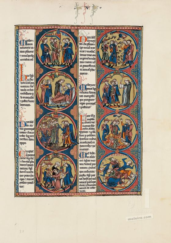 Folder of 2 prints from The Bible of Saint Louis: Exodus