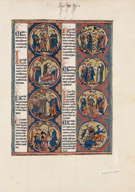 Mappe mit 2 Kunstdrucken aus der Bibel Ludwigs des Heiligen: Exodus Vol. 1, f. 38r