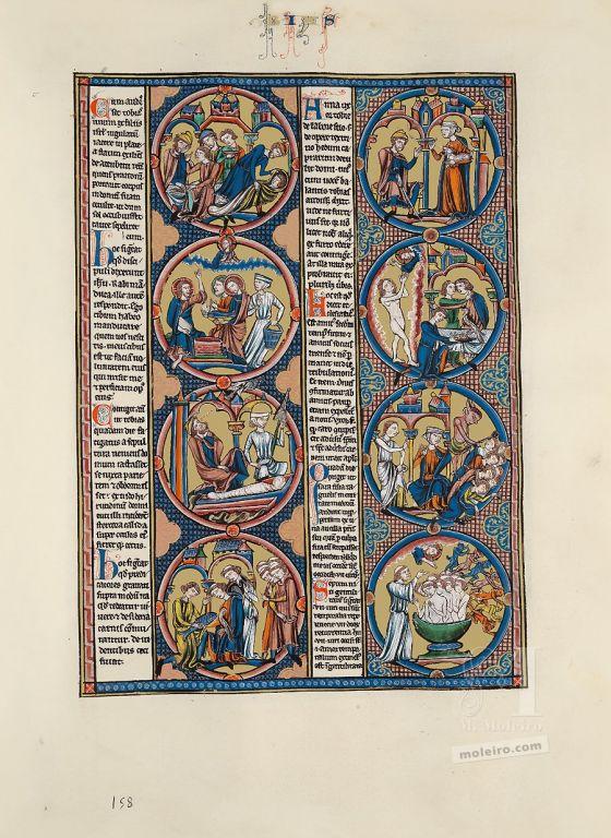 Carpeta con 2 láminas de la Biblia de San Luis: Éxodo Lámina del libro de Tobías de la Biblia de San Luis (vol. 1, f. 158r)