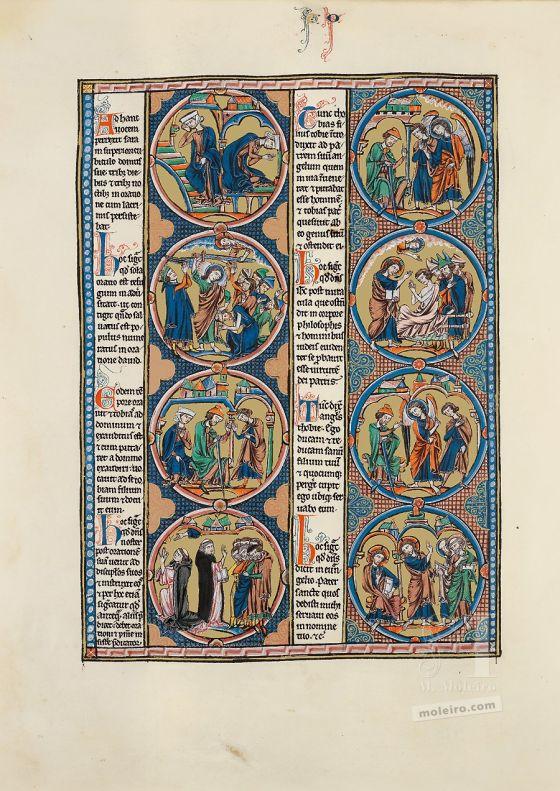 Mappe mit 2 Kunstdrucken aus der Bibel Ludwigs des Heiligen: Exodus Vol. 1, f. 159v