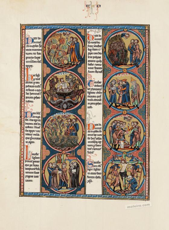 Mappe mit 2 Kunstdrucken aus der Bibel Ludwigs des Heiligen: Exodus Vol. 1, f. 39v<br />