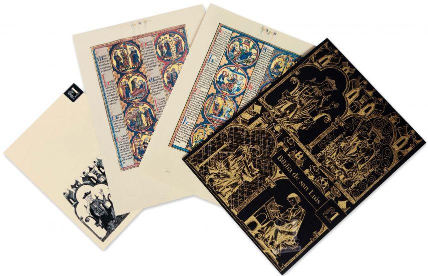 Mappe mit 2 Kunstdrucken aus der Bibel Ludwigs des Heiligen: Exodus 2 originalgetreue Nachbildungen