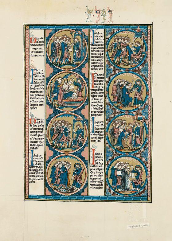 Sélection de deux feuillets tirés de la Bible de Saint Louis: la Genèse Feuillet du livre de la Genèse de la Bible de Saint Louis (vol. 1, folio 23v)