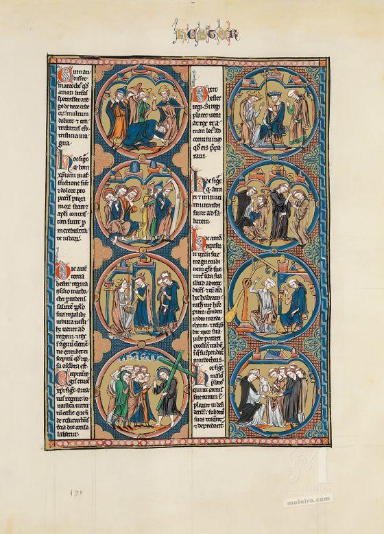 Sélection de deux feuillets tirés de la Bible de Saint Louis: la Genèse Feuillet du Livre d'Esther de la Bible de Saint Louis (vol. 1, folio 170r)