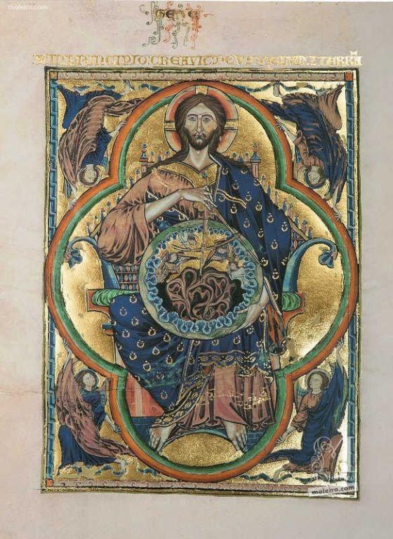 Pasta com 2 lâminas da Bíblia de São Luís: Pantocrator f. 1v, vol.1