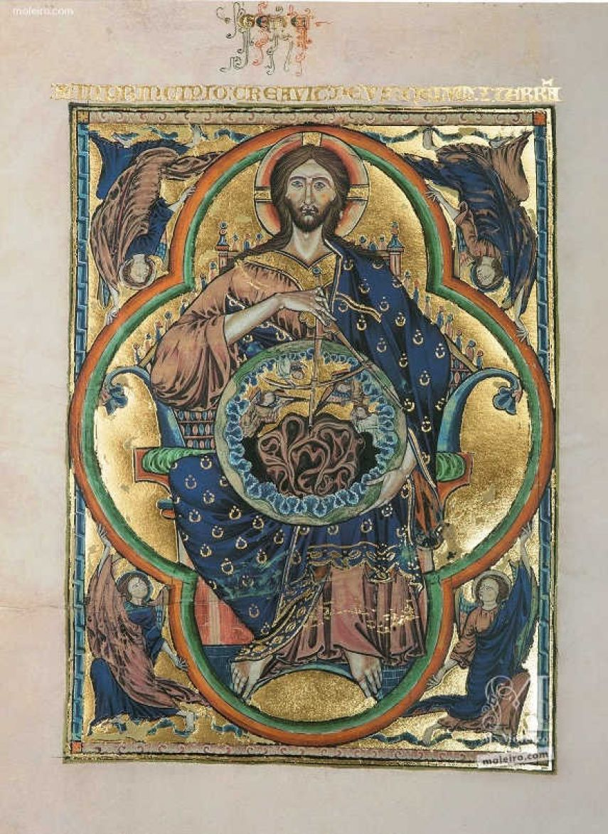 Folder of 2 prints from the Bible of St. Louis: Pantocrator 2 identical illuminations